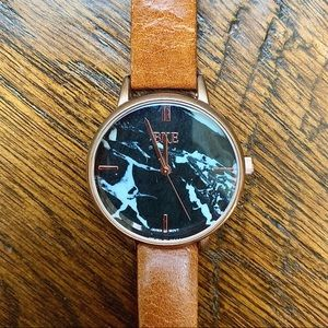 Black marble and genuine leather wrist watch